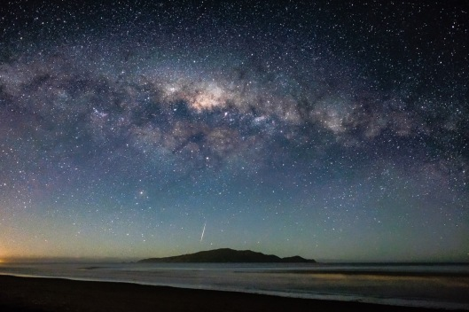 Milky Way and Meteor over Kapiti Island.Neil Gordon.N