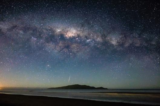 Milky Way and Meteor over Kapiti Island.Neil Gordon.N
